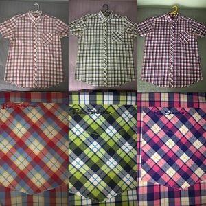 3 Men's Ben Sherman Short Sleeve Plaid Shirts XL